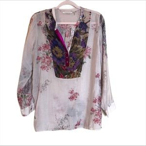 Soft Surroundings Floral Boho Aria Tunic Top
